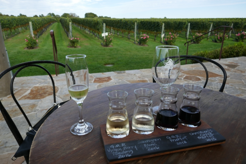 A flight of wine to taste at the Wollfer Estate in the Hamptons