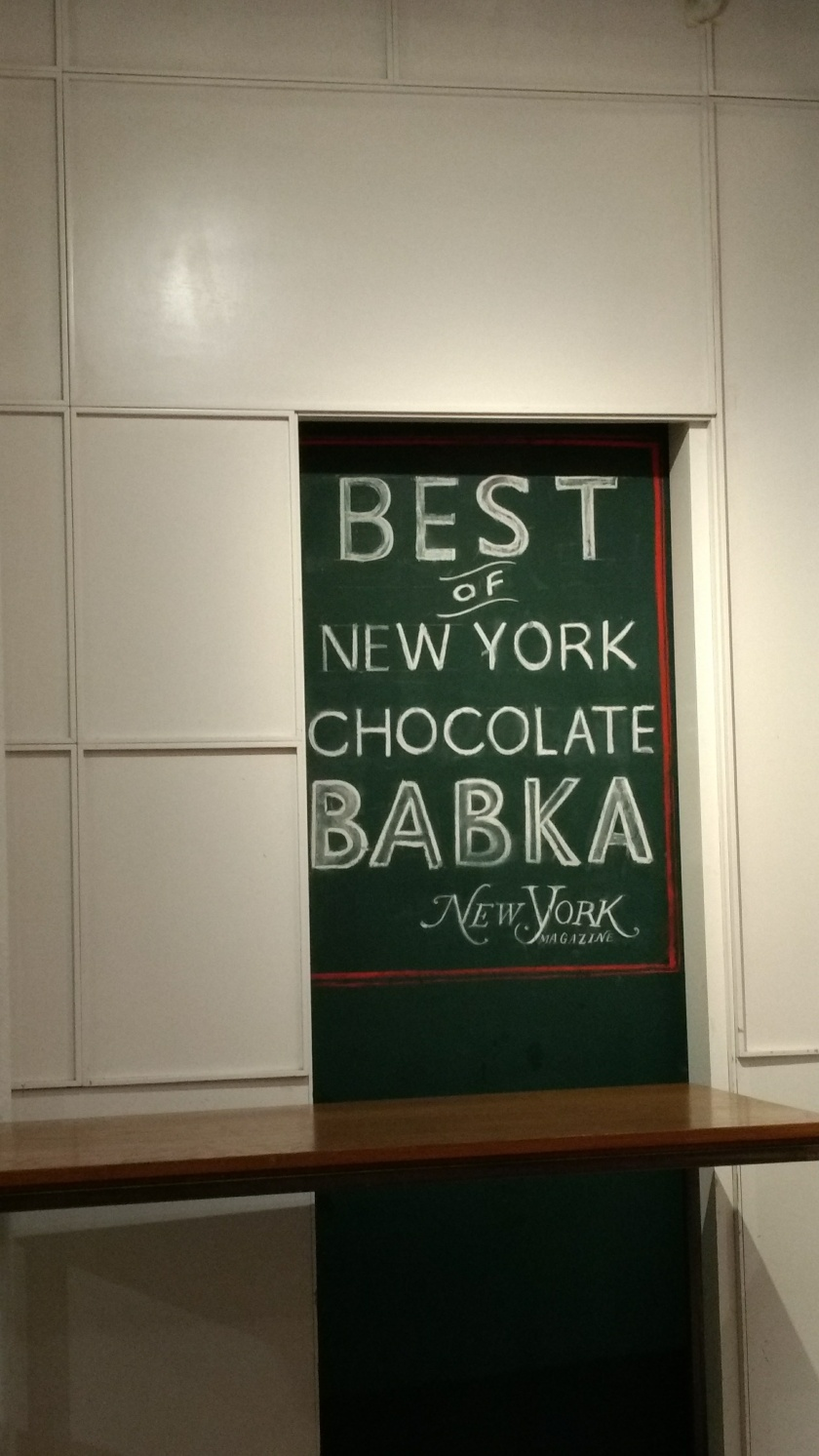 Sign for best chocolate babka in New York at Breads Bakery