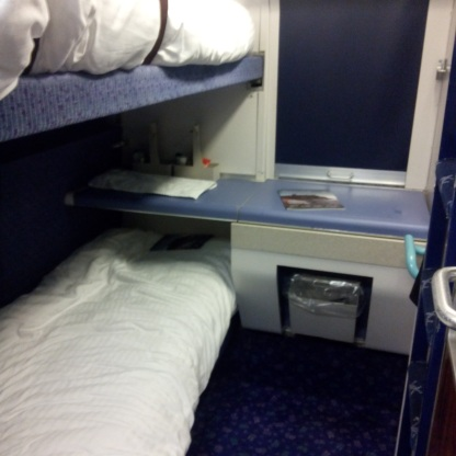 The inside of a cabin on the Caledonian Sleeper.