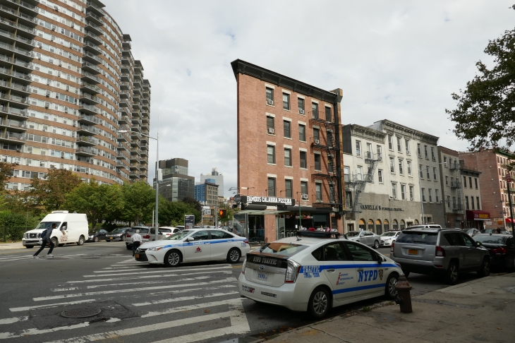 New York street with cop car and fire escape
