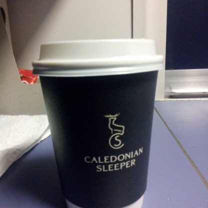 Our morning coffee on the Caledonian Sleeper.